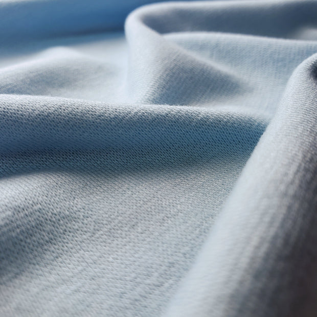 Bamboo Cotton Stretch Blend Mini Ribbed -  Light Blue - 1/2 meter