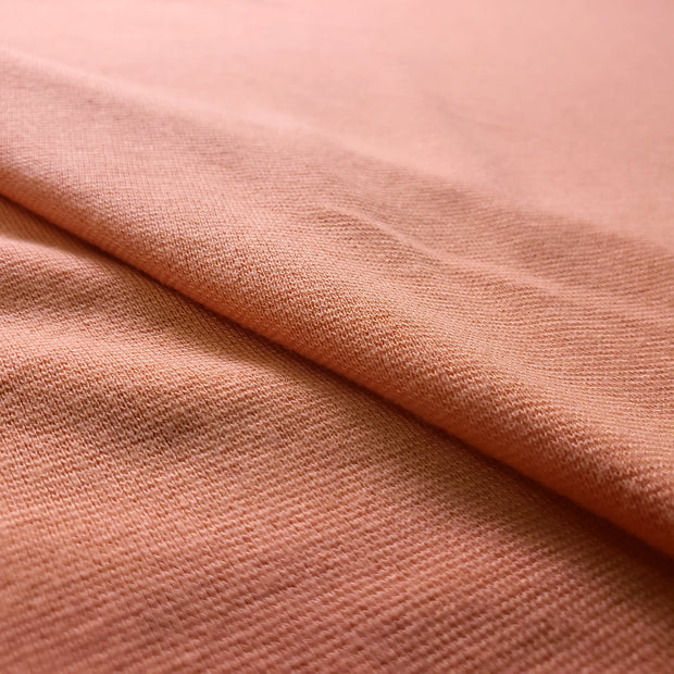 Bamboo Cotton Stretch Blend Mini Ribbed -  Salmon Orange  - 1/2 meter - FABCYCLE shop