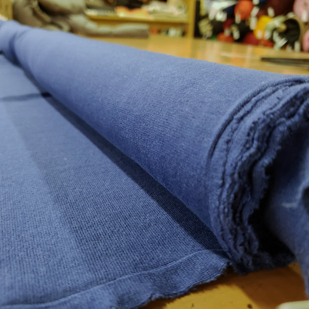 Bamboo Cotton Stretch Blend Mini Ribbed -  Double Blue  - 1/2 meter - FABCYCLE shop