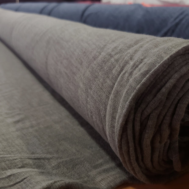 Organic Cotton Bamboo Slub - Uncommitted Brown Grey - 1/2 meter - FABCYCLE shop