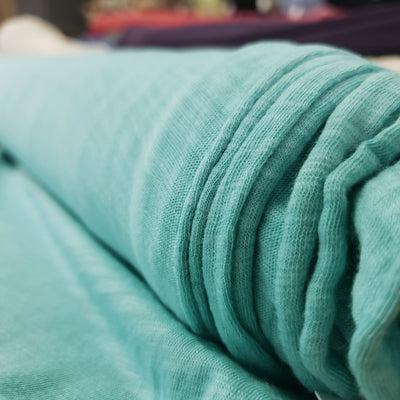 Bamboo Cotton Stretch Blend Mini Ribbed - Almost midnight Teal  - 1/2 meter