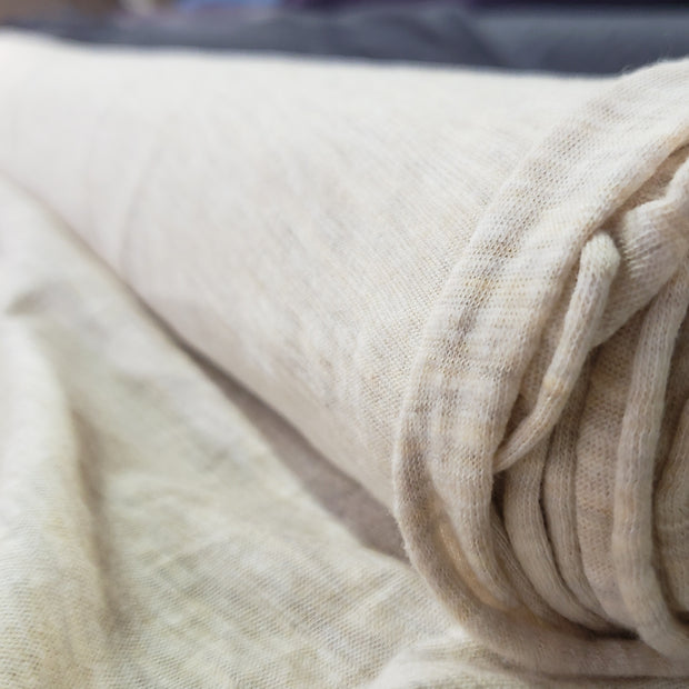 Bamboo Cotton Stretch Blend Mini Ribbed - Oatmeal - 1/2 meter