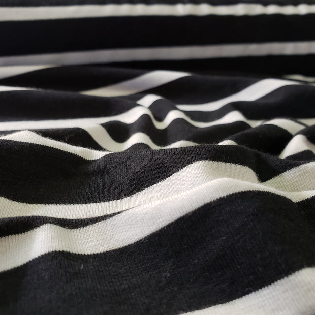 Bamboo Cotton Stripe Stretch Jersey - White/black- 1/2 meter