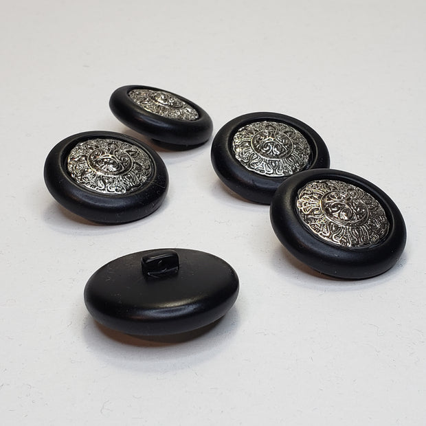 30mm Shank Button - Silver detail in Black Plastic - Individual