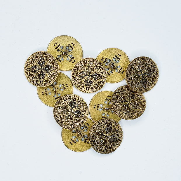 30mm Shank Button - Brass Filigree - Individual