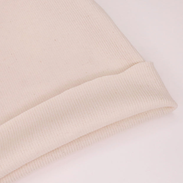 Oatmeal Cookie - 2x2 Rib Cotton Knit - Natural Cotton - 1/2 Meter