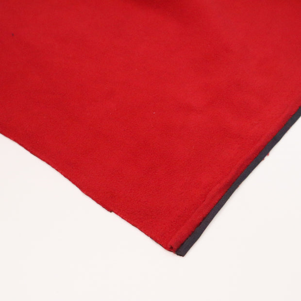 Santa's Coming to Town - Polyester Fleece / Polyester Knit Backing - Red / Black - 1/2 Meter