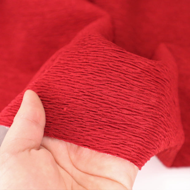 Lady in Red - Double Layered Polyester Satin Knit - Red / White - 2.00M Bundle
