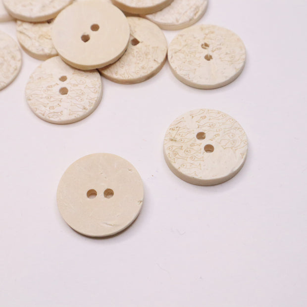 22mm Flat Button - Pressed Paper - Small Fish Carving Detail - Individual