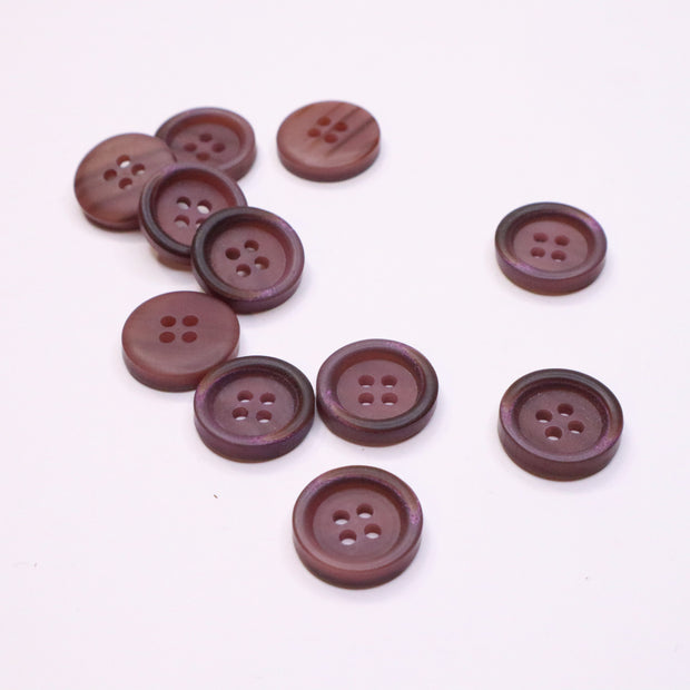 20mm Flat Button - Plastic - Dark Mauve - 25 & 50 Packs