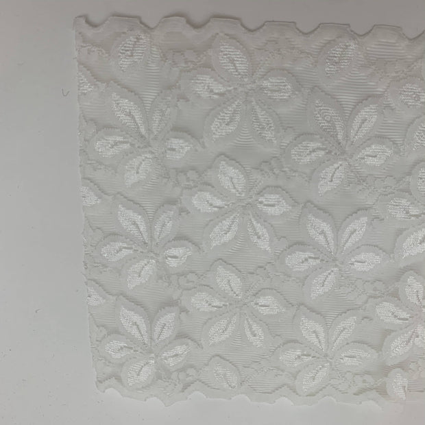 "6"" Extra Wide Lace Trim - Stretch - White - 1M"