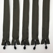 "28"" Invisible Coil Zipper - Separating - Olive - 5 Pack"