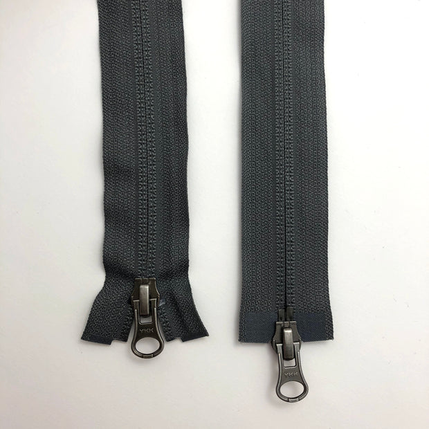 "26"" Invisible Coil Double Slide Zipper - Two-Way Separator - Grey - Individual"