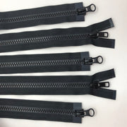"27"" Plastic Molded Zipper - Two-Way Separator - Black / Black - 5 Pack"