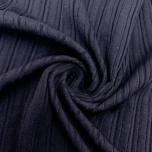 Navy Grooves - Ribbed Knit - 1/2 Meter