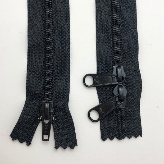 "45"" Coil Zipper with Double Sliders - Closed-End - Black / Black - Individual"