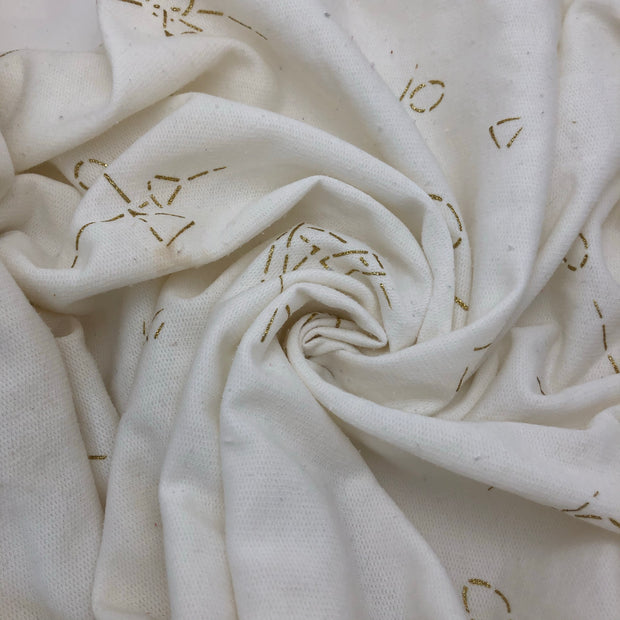 Specks of Gold - Cotton Knit Fleece - White - 3.1M Bundle