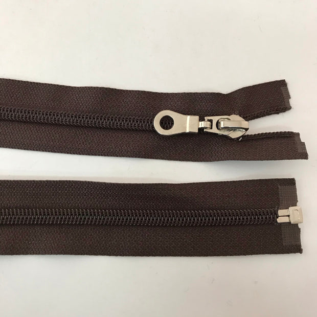 "Coil Zipper - Round Pull - 21"" - Brown"