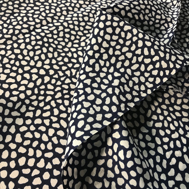 Polka Beans Navy- Woven - 1/2 meter - FABCYCLE shop