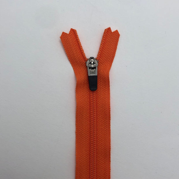 "14"" Coil Zipper -  Closed End - Orange - Individual & Packs of 10"