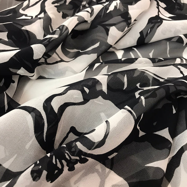Abstract Black And White Floral - Woven - 1/2 Meter