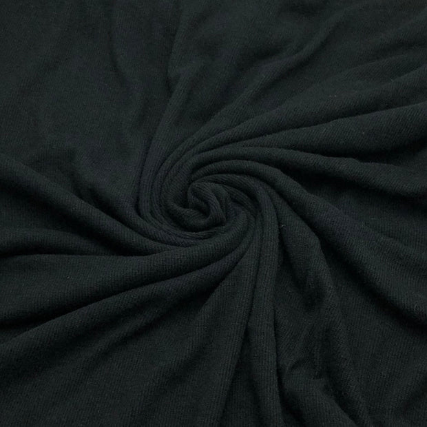 Bamboo Cotton Tubular 2X2 Rib - Knit - Deep Black - 1M Bundle