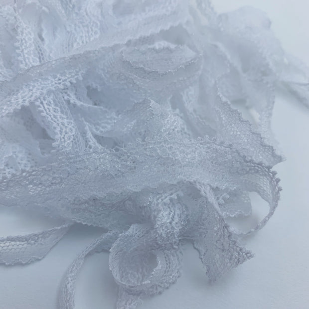 "1/2"" Mesh Lace Trim - Stretch - White"