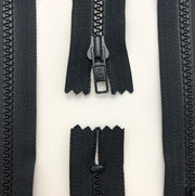 "5"" Plastic Moulded Zipper - Closed-End - Black / Black - Individual"