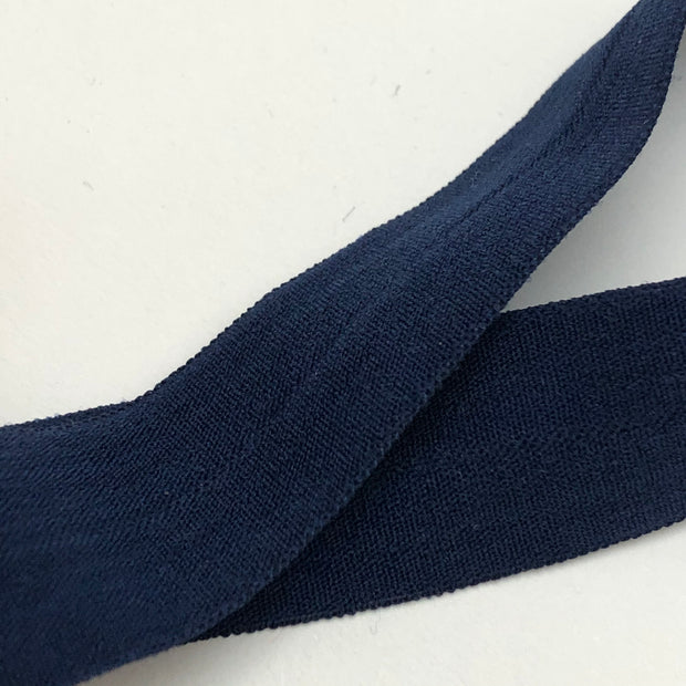 "3/4"" Knit Fold Over Elastic - Navy Blue - 1 Meter"