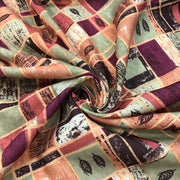 Seasonal Check - Cotton Polyester Woven - Green / Orange / Burgundy - 1/2 Meter
