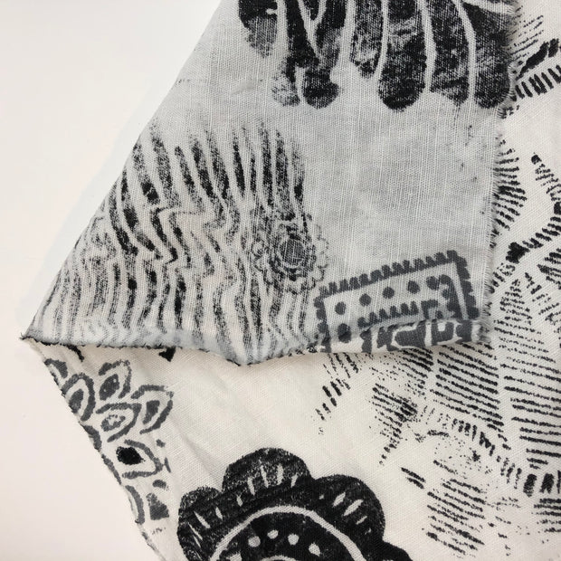 Botanical Stamp - Cotton Woven - Black / White - 0.80M Bundle