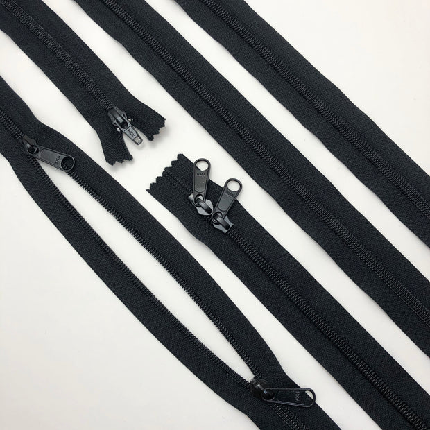 "46"" Coil Zipper with Double Sliders - Closed-End - Black / Black - Individual"