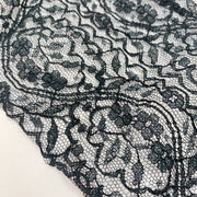 "6 3/8"" Extra Wide Decorative Lace Trim - Non Stretch - Black - 1M"