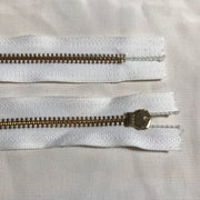 YKK White Metal Zipper - Gold Teeth