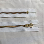 YKK White Metal Zipper - Gold Teeth - FABCYCLE shop