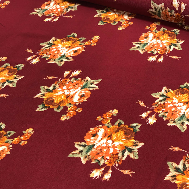 December 2: Mulled Wine - Polyester Crepe Woven - Red / Orange / Green - 1/2 Meter