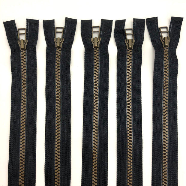 "23"" Plastic Molded Zipper - Seperating - Black / Brass Coloured - 5 Pack"