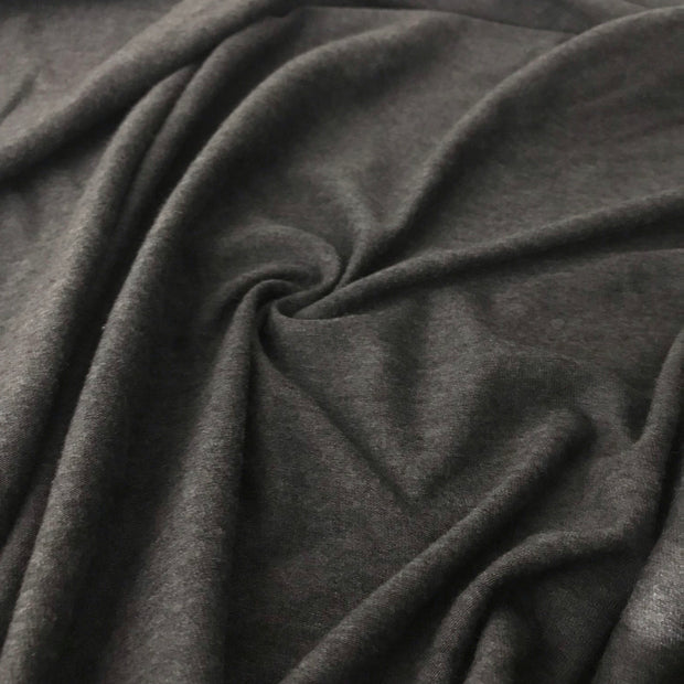 Organic Cotton Bamboo Slub - Deep Dark Grey - 1/2 meter - FABCYCLE shop
