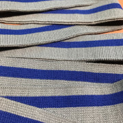 Ribbed Knit - Premade - Grey with Blue Stripe - FABCYCLE shop