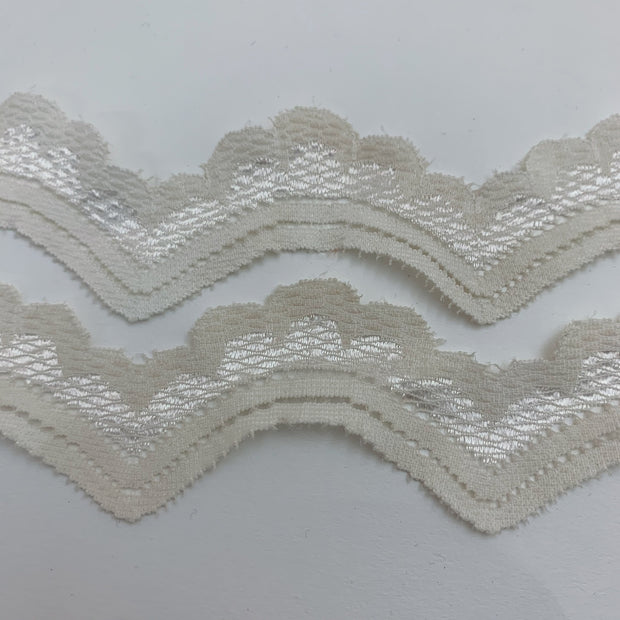 "1"" Scalloped Edge Trim - Stretch - Pale Yellow"