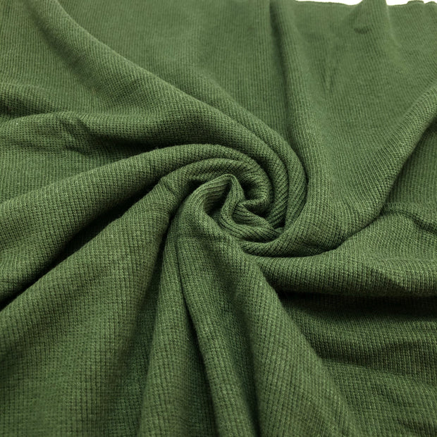 Bamboo Cotton 2X2 Rib - Knit -  Green Bean - 1/2 Meter & 1M Bundle