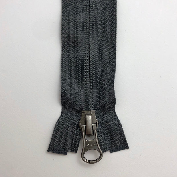 "27"" Invisible Coil Double Slide Zipper - Two-Way Separator - Grey - Individual"