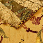 December 10: Rug By The Fireplace- Embroidered Woven - Brown & Maroon & Green - 1/2 Meter