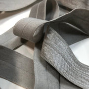 "3/4"" Knit Fold Over Elastic - Metallic Silver Grey - 1 Meter"