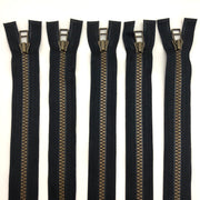 Assorted Length Plastic Molded Zipper - Separating - Black / Brass Coloured - 5 Pack