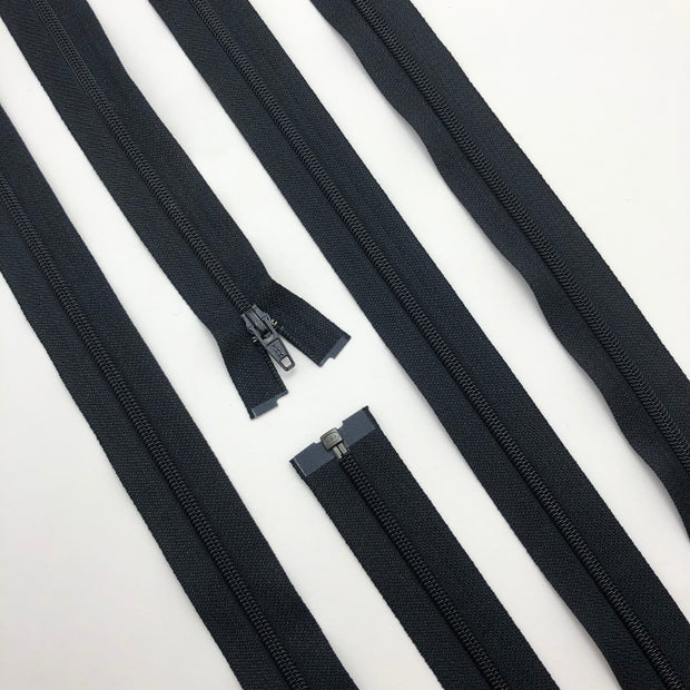 "19"" Coil Zipper - Separating - Black / Black - Individual"