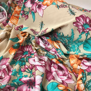 Blooming Florals On Tan - Knit - 1/2 meter - FABCYCLE shop