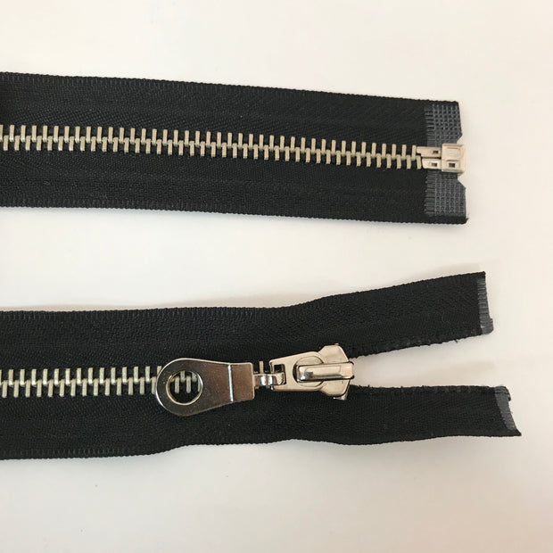 "Metal Zipper - Brass Teeth - 24"" - Black"