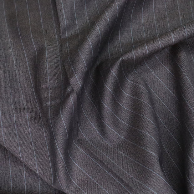 Rain Lines - Pinstripe Wool Suiting Woven - Grey/Blue- 1.1M Bundle