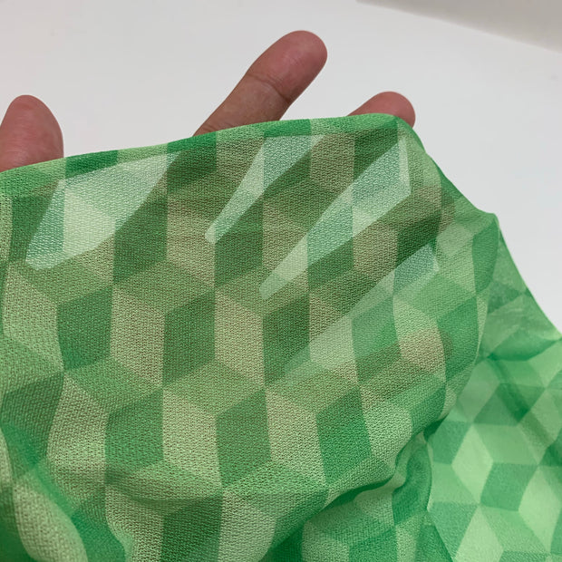 3D Blocks - Synthetic Knit - Green - 1/2 Meter